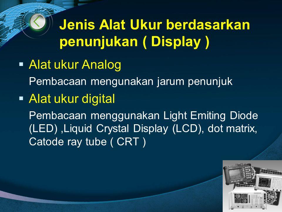 LOGO Jenis Alat Ukur berdasarkan penunjukan ( Display )  Alat ukur Analog Pembacaan mengunakan jarum penunjuk  Alat ukur digital Pembacaan menggunak