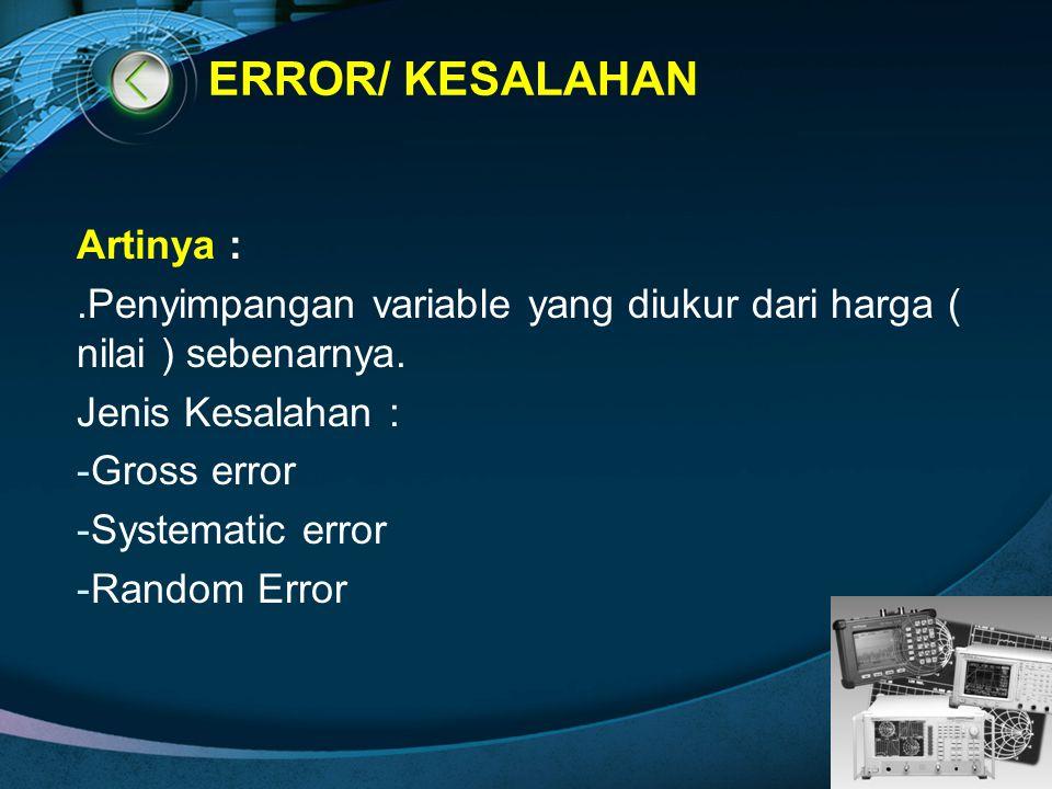 LOGO ERROR/ KESALAHAN Artinya :.Penyimpangan variable yang diukur dari harga ( nilai ) sebenarnya. Jenis Kesalahan : -Gross error -Systematic error -R