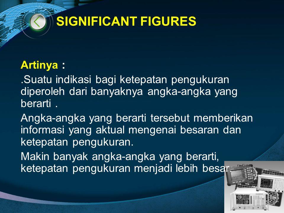 LOGO SIGNIFICANT FIGURES Artinya :.Suatu indikasi bagi ketepatan pengukuran diperoleh dari banyaknya angka-angka yang berarti. Angka-angka yang berart