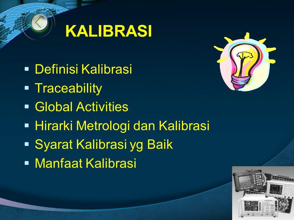 LOGO KALIBRASI  Definisi Kalibrasi  Traceability  Global Activities  Hirarki Metrologi dan Kalibrasi  Syarat Kalibrasi yg Baik  Manfaat Kalibras