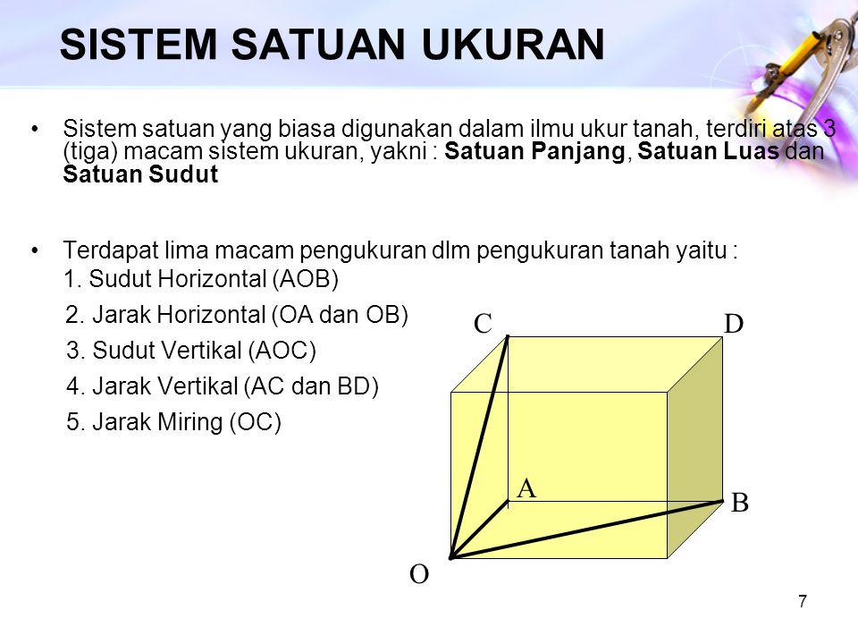 7 SISTEM SATUAN UKURAN Sistem satuan yang biasa digunakan dalam ilmu ukur tanah, terdiri atas 3 (tiga) macam sistem ukuran, yakni : Satuan Panjang, Sa