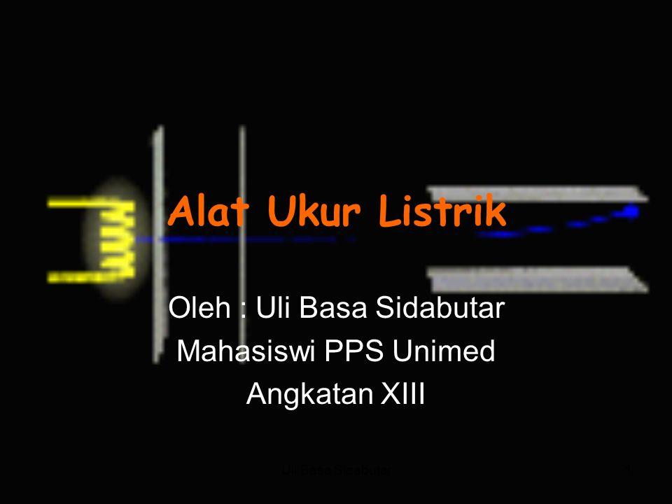 Uli Basa Sidabutar1 Alat Ukur Listrik Oleh : Uli Basa Sidabutar Mahasiswi PPS Unimed Angkatan XIII