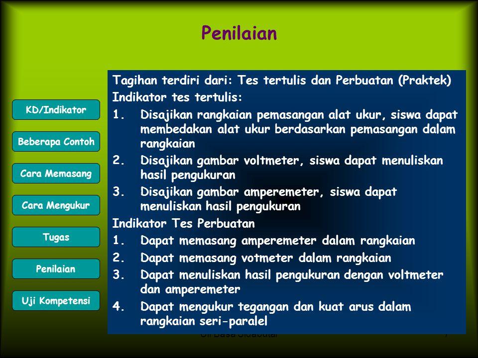 Uli Basa Sidabutar7 Penilaian Tagihan terdiri dari: Tes tertulis dan Perbuatan (Praktek) Indikator tes tertulis: 1.Disajikan rangkaian pemasangan alat