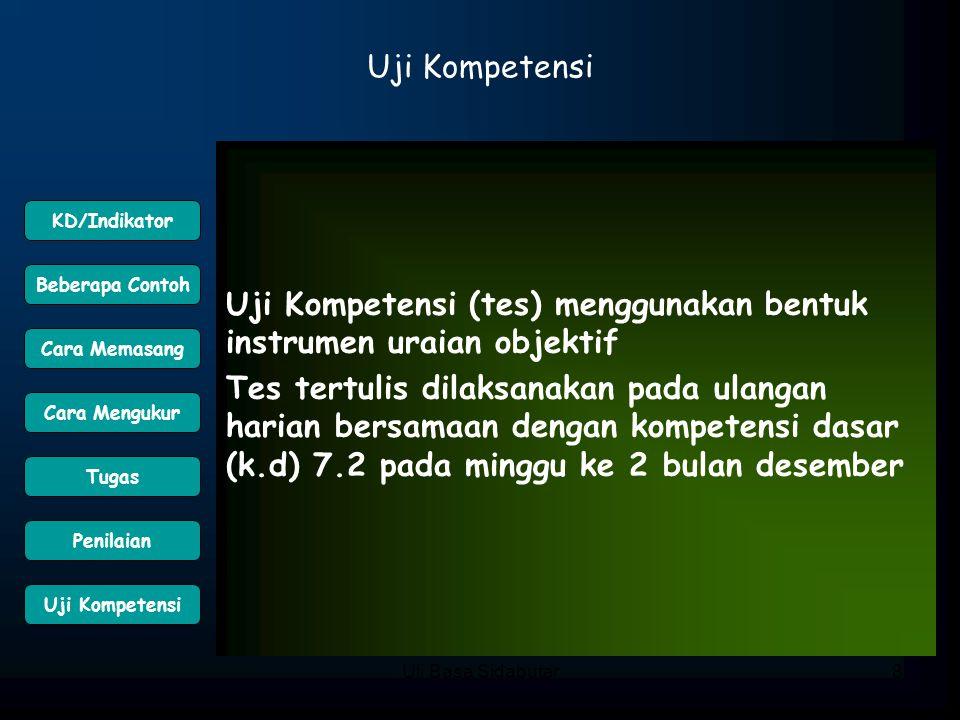 Uli Basa Sidabutar8 Uji Kompetensi Uji Kompetensi (tes) menggunakan bentuk instrumen uraian objektif Tes tertulis dilaksanakan pada ulangan harian ber