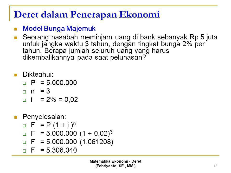 Matematika Ekonomi - Deret (Febriyanto, SE., MM.) 12 Deret dalam Penerapan Ekonomi Model Bunga Majemuk Seorang nasabah meminjam uang di bank sebanyak