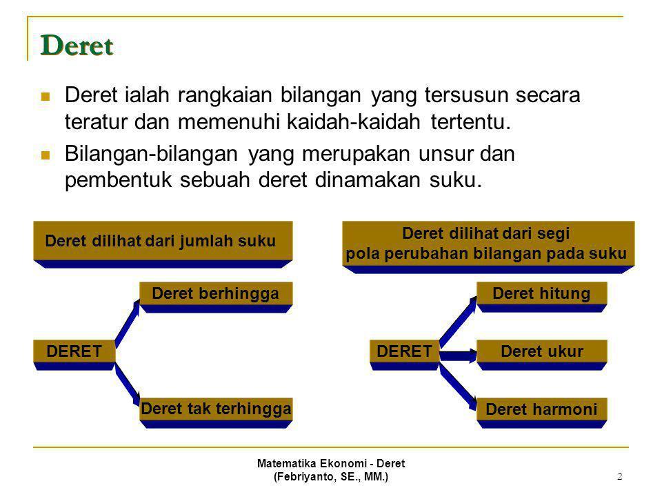 Matematika Ekonomi - Deret (Febriyanto, SE., MM.) 3 Deret Deret hitung (DH)  Deret hitung ialah deret yang perubahan suku-sukunya berdasarkan penjumlahan terhadap sebuah bilangan tertentu.