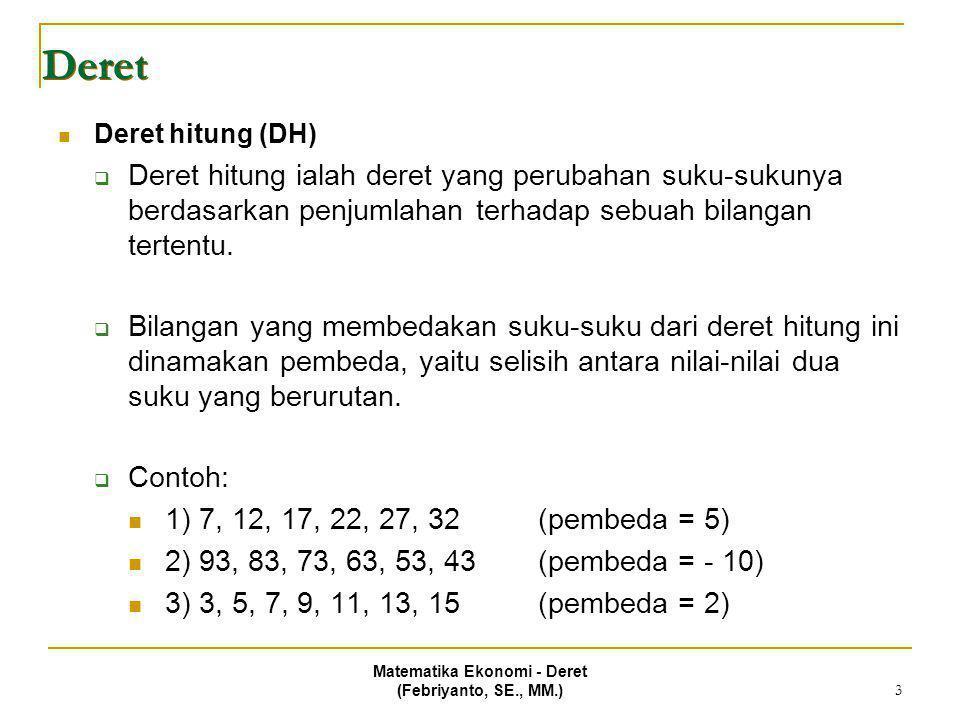 Matematika Ekonomi - Deret (Febriyanto, SE., MM.) 4 Deret Suku ke-n dari deret hitung  Besarnya nilai suku tertentu (ke-n) dari sebuah deret hitung dapat dihitung melalui sebuah rumus.