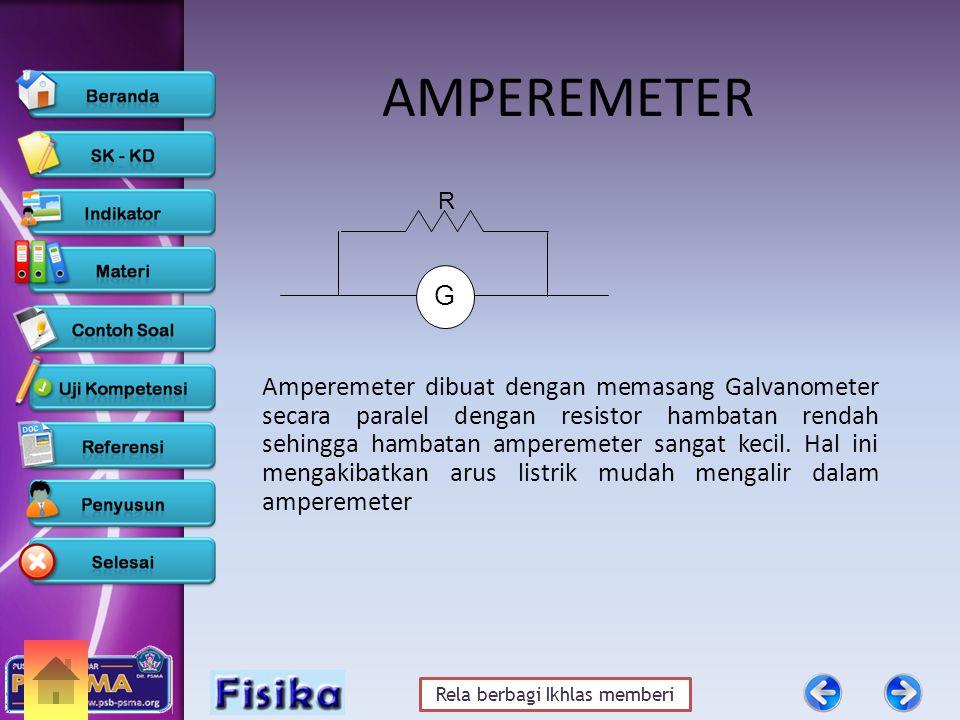 Rela berbagi Ikhlas memberi AMPEREMETER Amperemeter dibuat dengan memasang Galvanometer secara paralel dengan resistor hambatan rendah sehingga hambatan amperemeter sangat kecil.