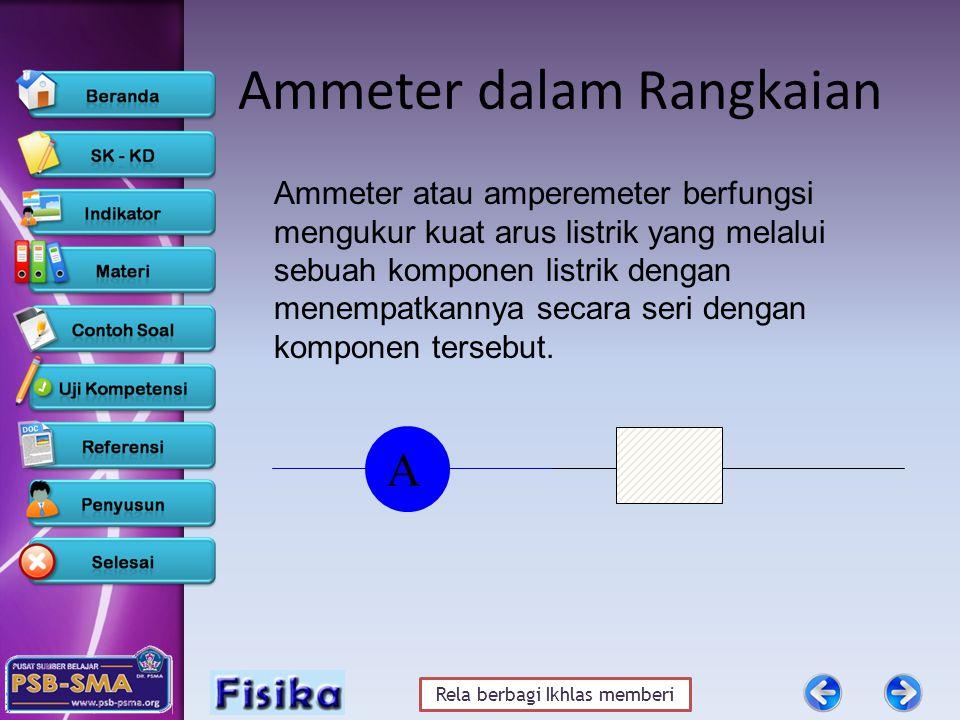 Rela berbagi Ikhlas memberi Ammeter dalam Rangkaian Ammeter atau amperemeter berfungsi mengukur kuat arus listrik yang melalui sebuah komponen listrik dengan menempatkannya secara seri dengan komponen tersebut.