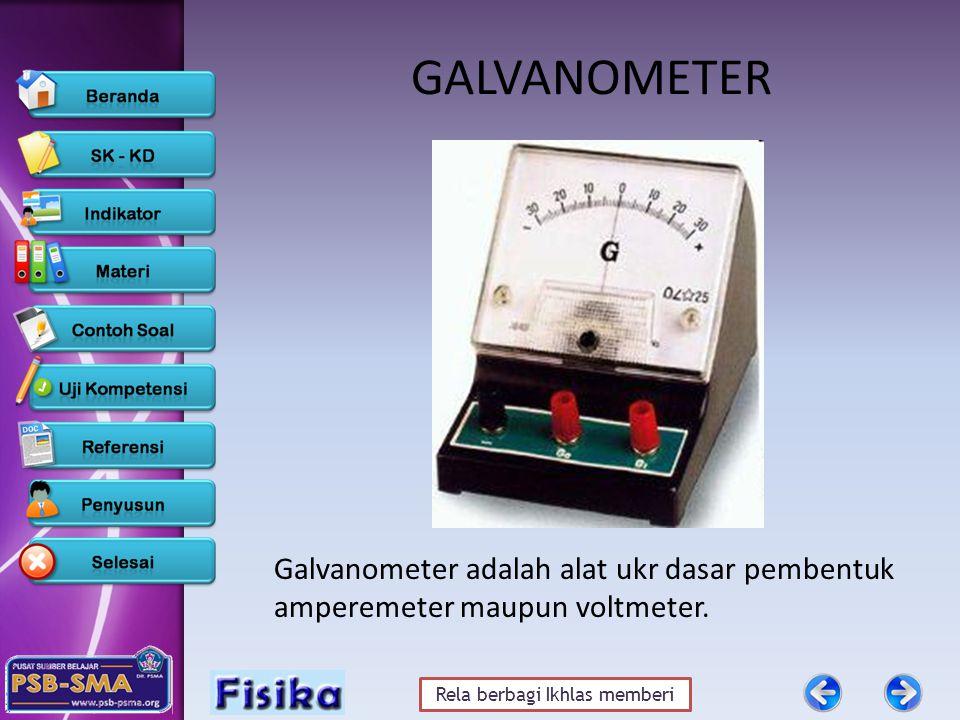 Rela berbagi Ikhlas memberi GALVANOMETER Galvanometer adalah alat ukr dasar pembentuk amperemeter maupun voltmeter.