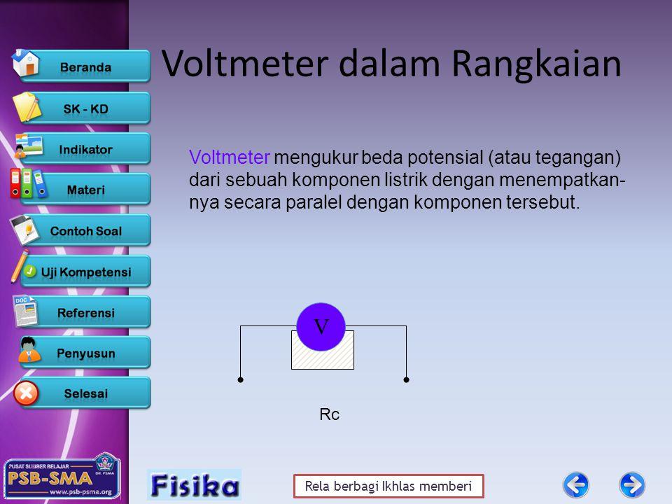 Rela berbagi Ikhlas memberi Voltmeter dalam Rangkaian Rc V Voltmeter mengukur beda potensial (atau tegangan) dari sebuah komponen listrik dengan menempatkan- nya secara paralel dengan komponen tersebut.
