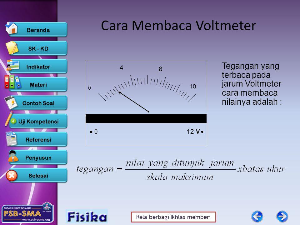 Rela berbagi Ikhlas memberi 8 12 V   0 10 4 0 Cara Membaca Voltmeter Tegangan yang terbaca pada jarum Voltmeter cara membaca nilainya adalah :