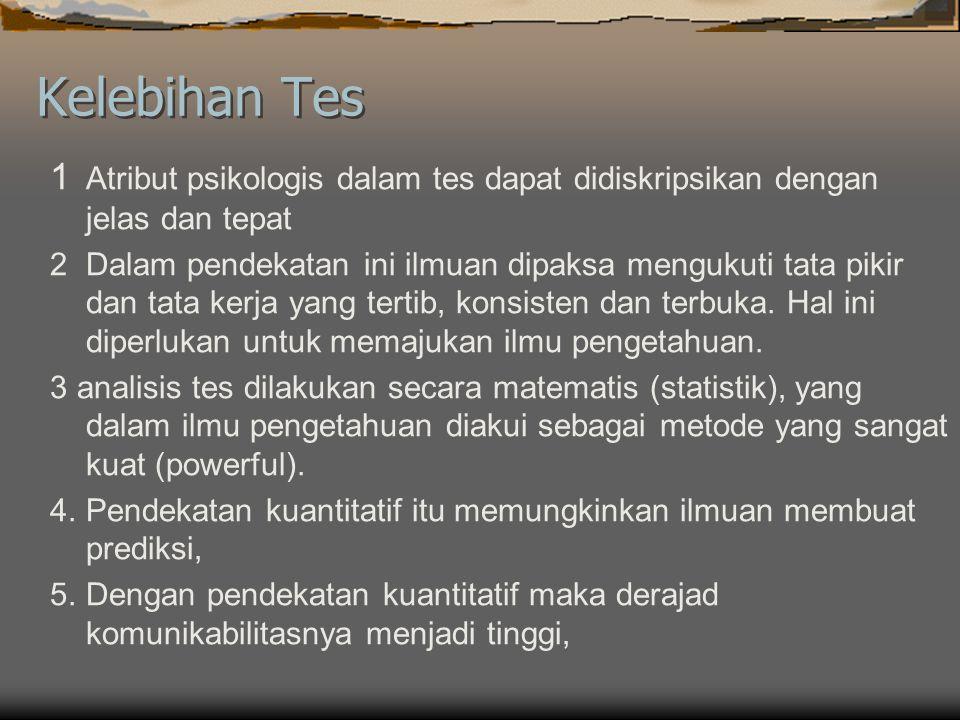 Tes Individu dan Kelompok  Tes Individu : diadministrasikan secara individual  Tes kelompok : diadministrasikan secara kelompok