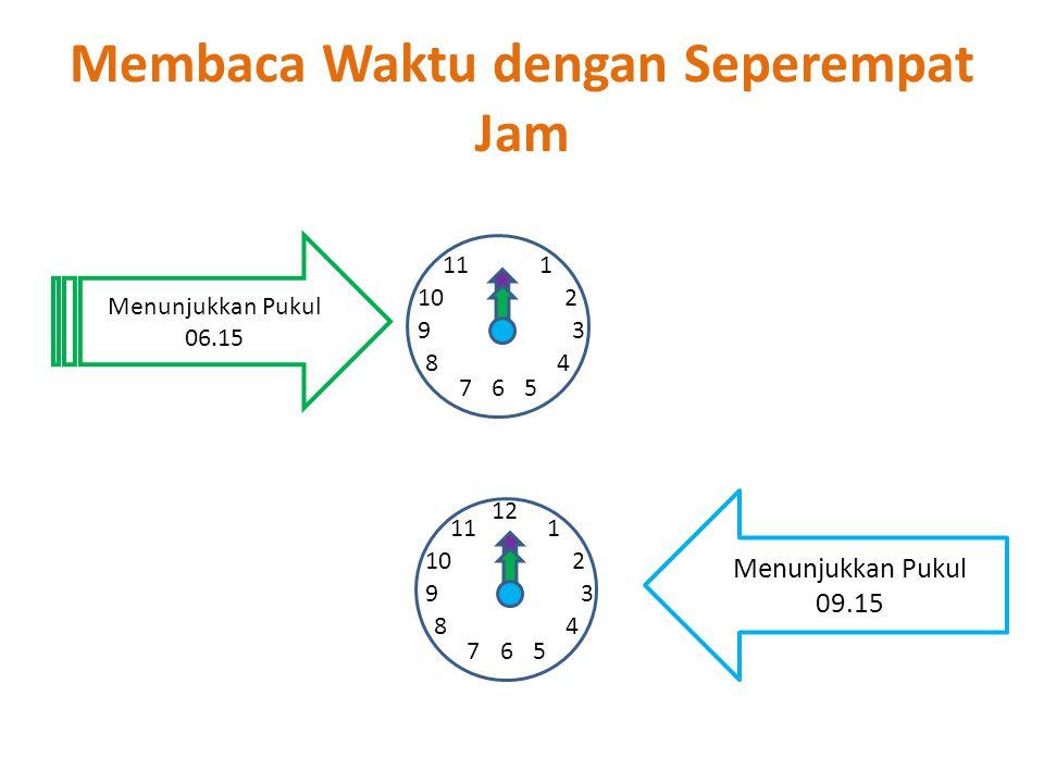 Membaca Waktu dengan Seperempat Jam 1 2 67 93 4 5 8 10 11 12 1 2 67 93 4 5 8 10 11 Menunjukkan Pukul 06.15 Menunjukkan Pukul 09.15