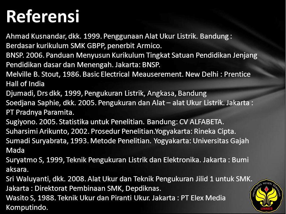 Referensi Ahmad Kusnandar, dkk. 1999. Penggunaan Alat Ukur Listrik.
