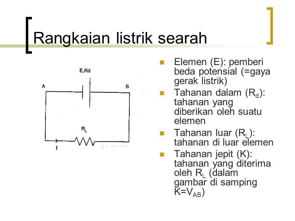 Rangkaian listrik searah Elemen (E): pemberi beda potensial (=gaya gerak listrik) Tahanan dalam (R d ): tahanan yang diberikan oleh suatu elemen Tahan
