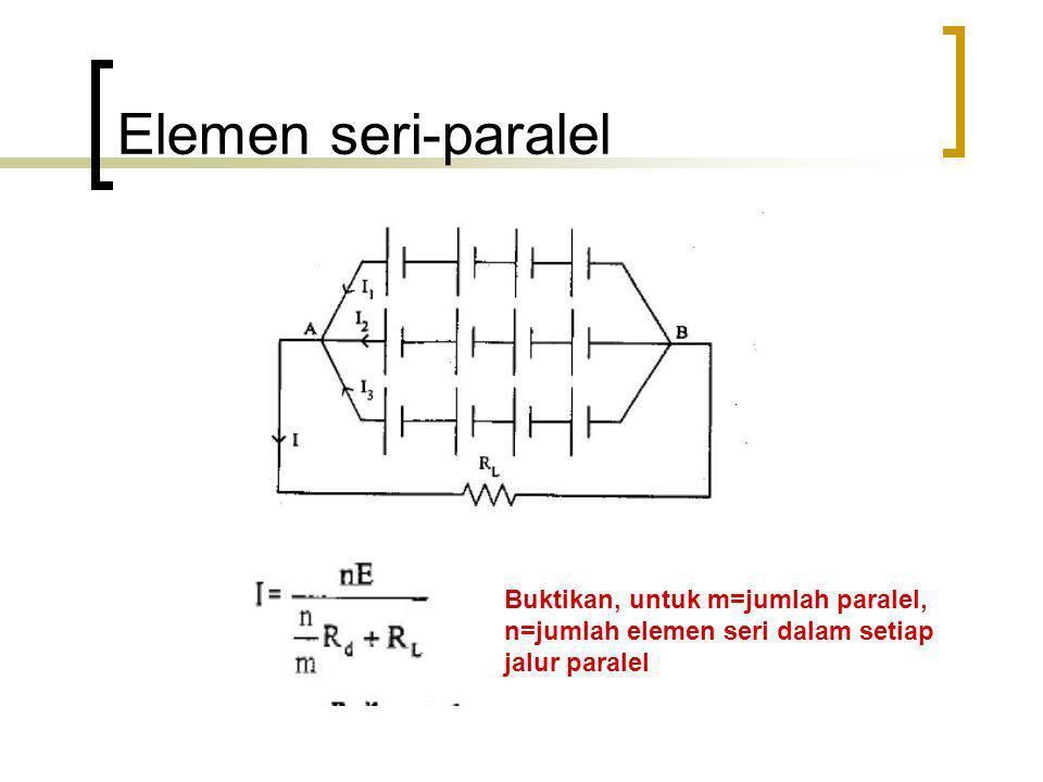 Elemen seri-paralel Buktikan, untuk m=jumlah paralel, n=jumlah elemen seri dalam setiap jalur paralel
