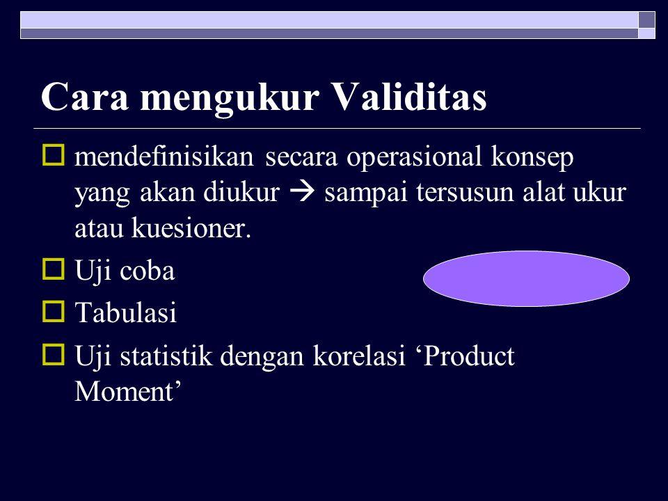 Cara mengukur Validitas  mendefinisikan secara operasional konsep yang akan diukur  sampai tersusun alat ukur atau kuesioner.