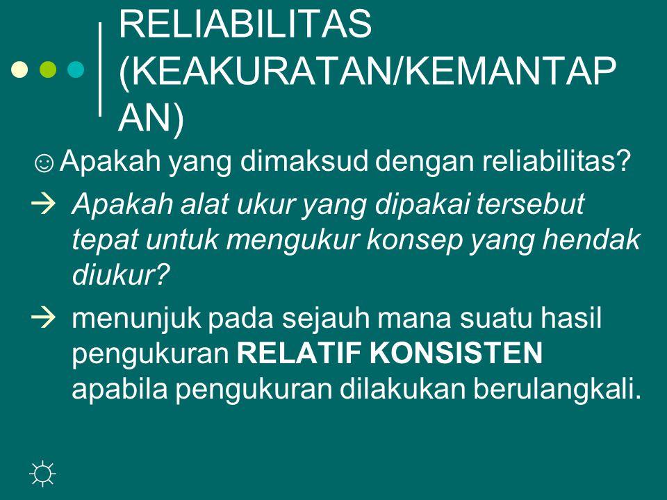 RELIABILITAS (KEAKURATAN/KEMANTAP AN) ☺ Apakah yang dimaksud dengan reliabilitas.