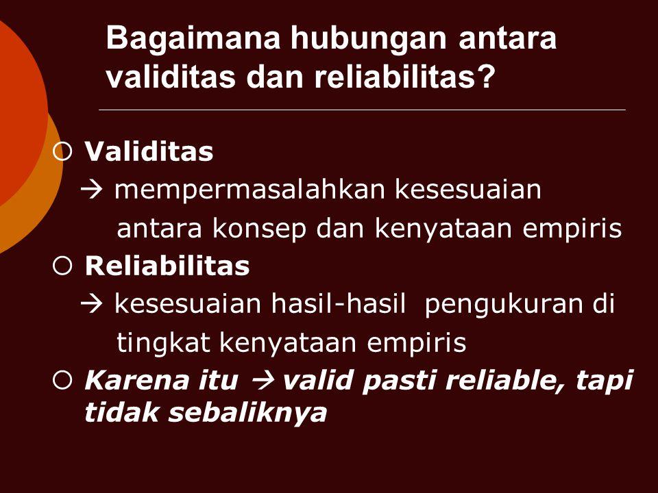 Bagaimana hubungan antara validitas dan reliabilitas.