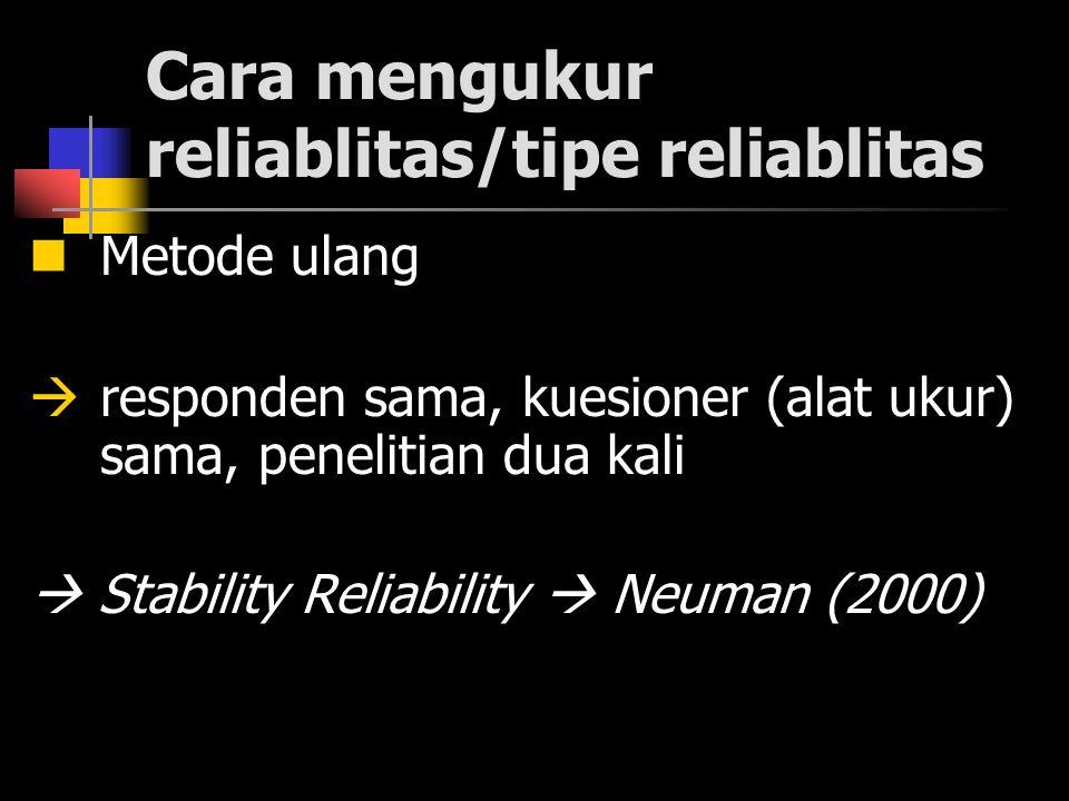 Cara mengukur reliablitas/tipe reliablitas Metode ulang  responden sama, kuesioner (alat ukur) sama, penelitian dua kali  Stability Reliability  Neuman (2000)