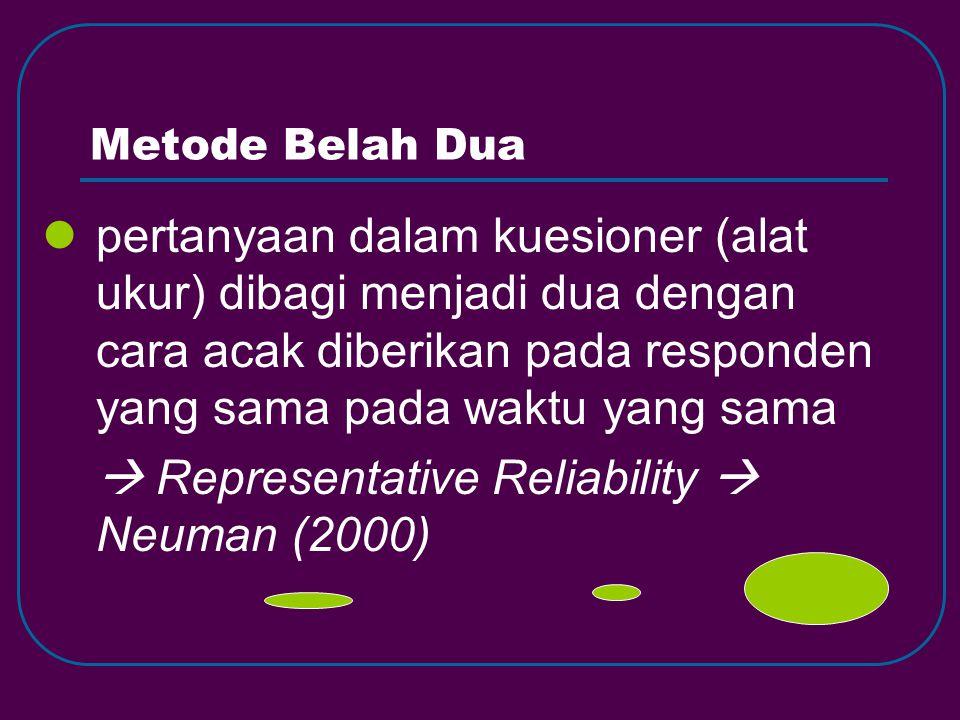 Metode Belah Dua pertanyaan dalam kuesioner (alat ukur) dibagi menjadi dua dengan cara acak diberikan pada responden yang sama pada waktu yang sama  Representative Reliability  Neuman (2000)