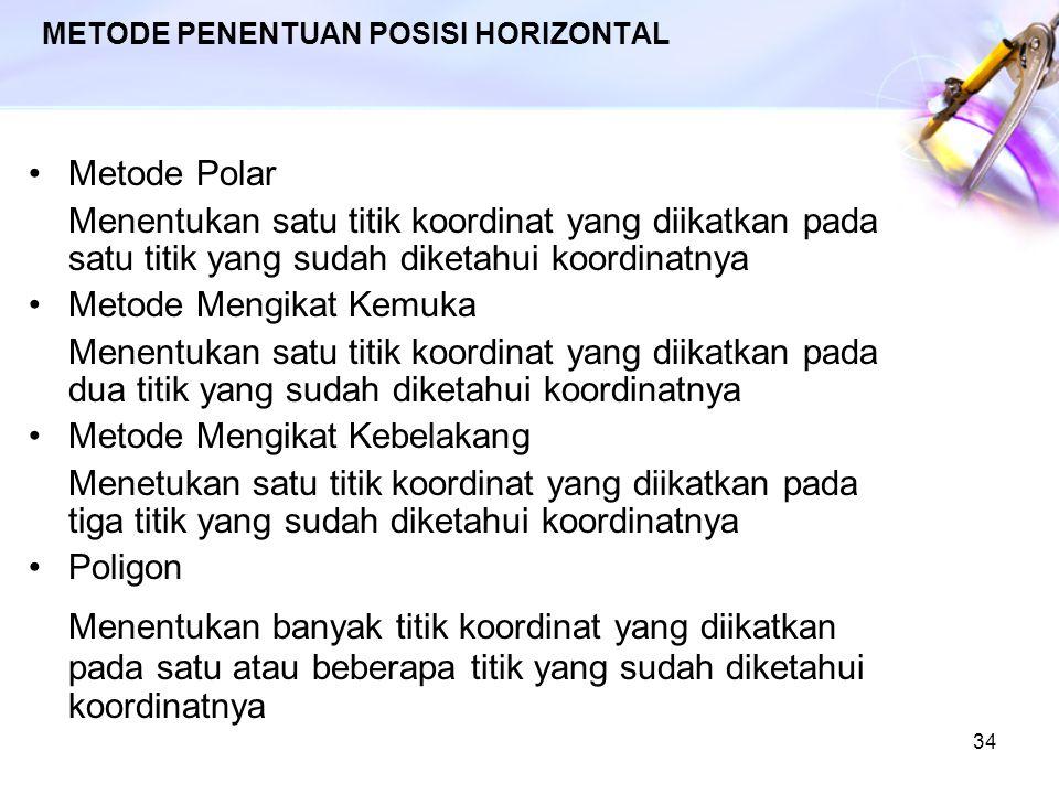 34 METODE PENENTUAN POSISI HORIZONTAL Metode Polar Menentukan satu titik koordinat yang diikatkan pada satu titik yang sudah diketahui koordinatnya Me