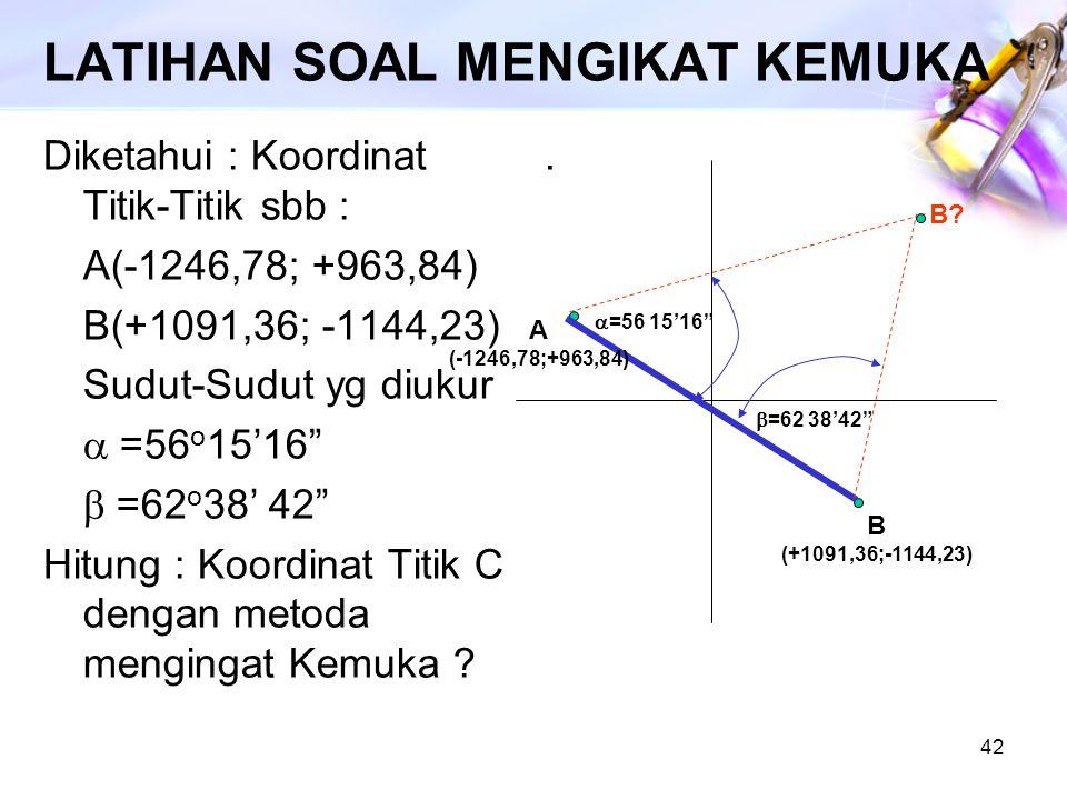 42 LATIHAN SOAL MENGIKAT KEMUKA Diketahui : Koordinat Titik-Titik sbb : A(-1246,78; +963,84) B(+1091,36; -1144,23) Sudut-Sudut yg diukur  =56 o 15'1