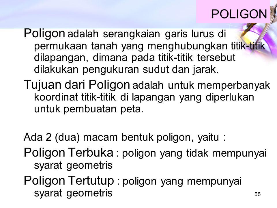 55 POLIGON Poligon adalah serangkaian garis lurus di permukaan tanah yang menghubungkan titik-titik dilapangan, dimana pada titik-titik tersebut dilak