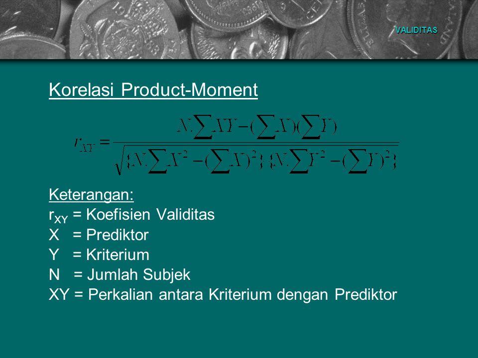 VALIDITAS Korelasi Product-Moment Keterangan: r XY = Koefisien Validitas X = Prediktor Y = Kriterium N = Jumlah Subjek XY = Perkalian antara Kriterium