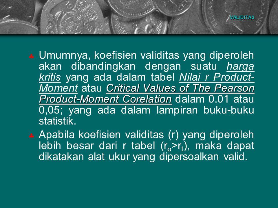 VALIDITAS Critical Values of The Pearson Product-Moment Corelation  Umumnya, koefisien validitas yang diperoleh akan dibandingkan dengan suatu harga