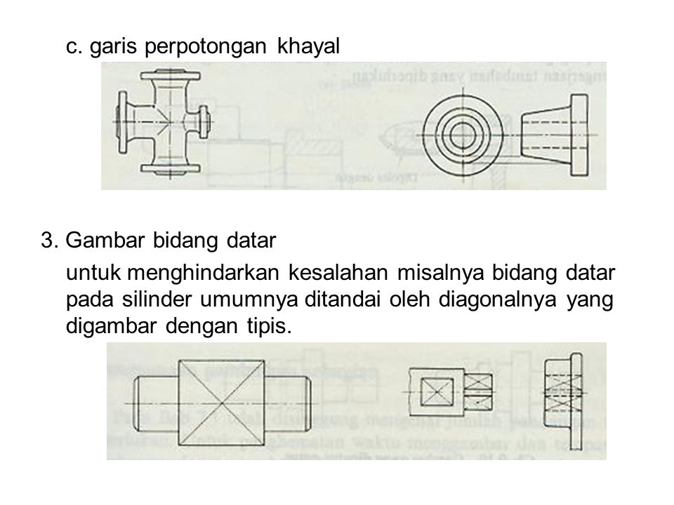 c. garis perpotongan khayal 3. Gambar bidang datar untuk menghindarkan kesalahan misalnya bidang datar pada silinder umumnya ditandai oleh diagonalnya