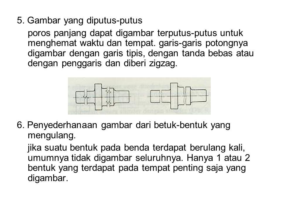 5. Gambar yang diputus-putus poros panjang dapat digambar terputus-putus untuk menghemat waktu dan tempat. garis-garis potongnya digambar dengan garis
