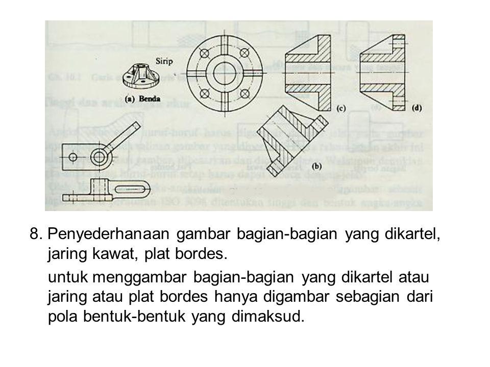 8. Penyederhanaan gambar bagian-bagian yang dikartel, jaring kawat, plat bordes. untuk menggambar bagian-bagian yang dikartel atau jaring atau plat bo