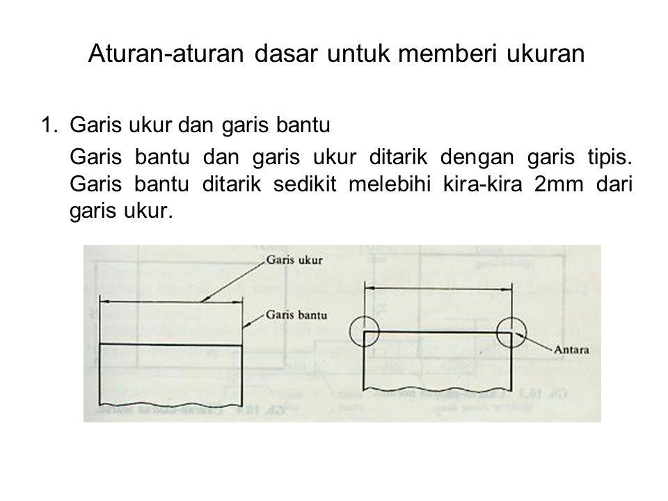 Aturan-aturan dasar untuk memberi ukuran 1.Garis ukur dan garis bantu Garis bantu dan garis ukur ditarik dengan garis tipis. Garis bantu ditarik sedik