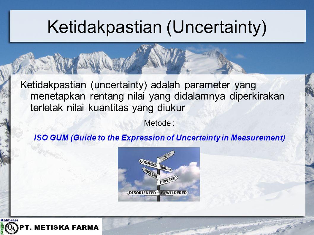 Ketidakpastian (Uncertainty) Ketidakpastian (uncertainty) adalah parameter yang menetapkan rentang nilai yang didalamnya diperkirakan terletak nilai kuantitas yang diukur Metode : ISO GUM (Guide to the Expression of Uncertainty in Measurement)