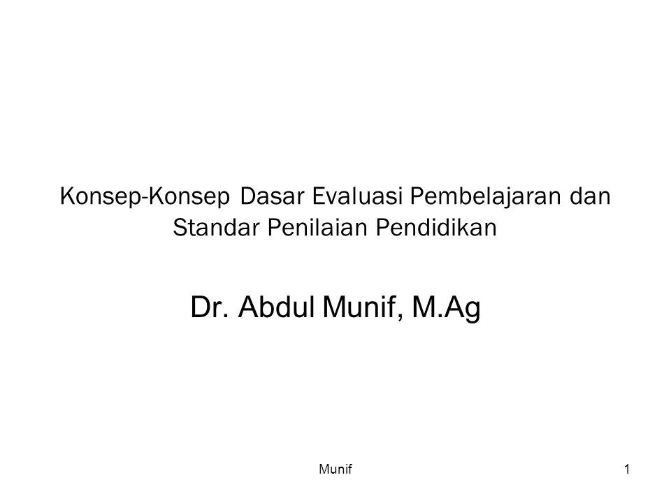 Munif1 Konsep-Konsep Dasar Evaluasi Pembelajaran dan Standar Penilaian Pendidikan Dr. Abdul Munif, M.Ag