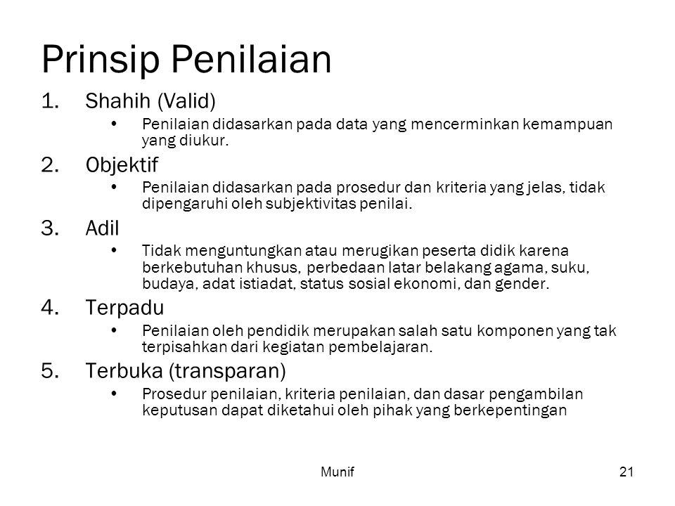 Munif21 Prinsip Penilaian 1.Shahih (Valid) Penilaian didasarkan pada data yang mencerminkan kemampuan yang diukur. 2.Objektif Penilaian didasarkan pad