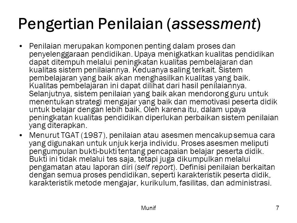 Munif7 Pengertian Penilaian (assessment) Penilaian merupakan komponen penting dalam proses dan penyelenggaraan pendidikan. Upaya menigkatkan kualitas
