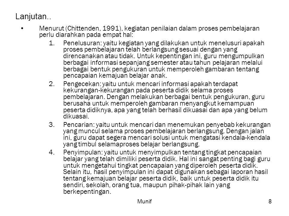 Munif8 Lanjutan.. Menurut (Chittenden, 1991), kegiatan penilaian dalam proses pembelajaran perlu diarahkan pada empat hal: 1.Penelusuran: yaitu kegiat