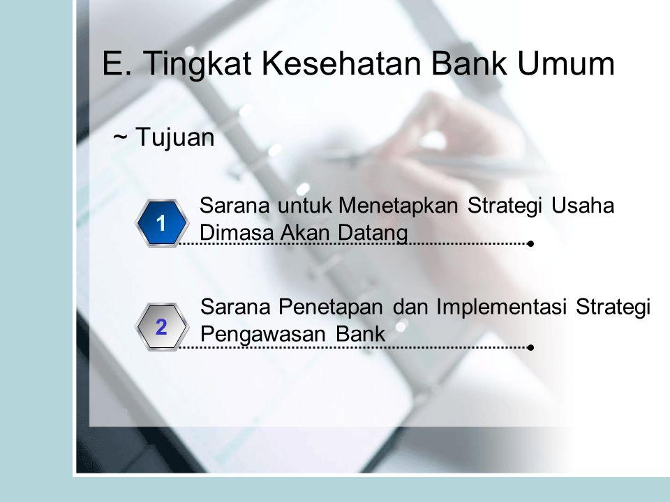 E. Tingkat Kesehatan Bank Umum ~ Tujuan Sarana untuk Menetapkan Strategi Usaha Dimasa Akan Datang 1 Sarana Penetapan dan Implementasi Strategi Pengawa