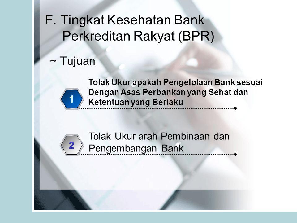 F. Tingkat Kesehatan Bank Perkreditan Rakyat (BPR) ~ Tujuan Tolak Ukur apakah Pengelolaan Bank sesuai Dengan Asas Perbankan yang Sehat dan Ketentuan y