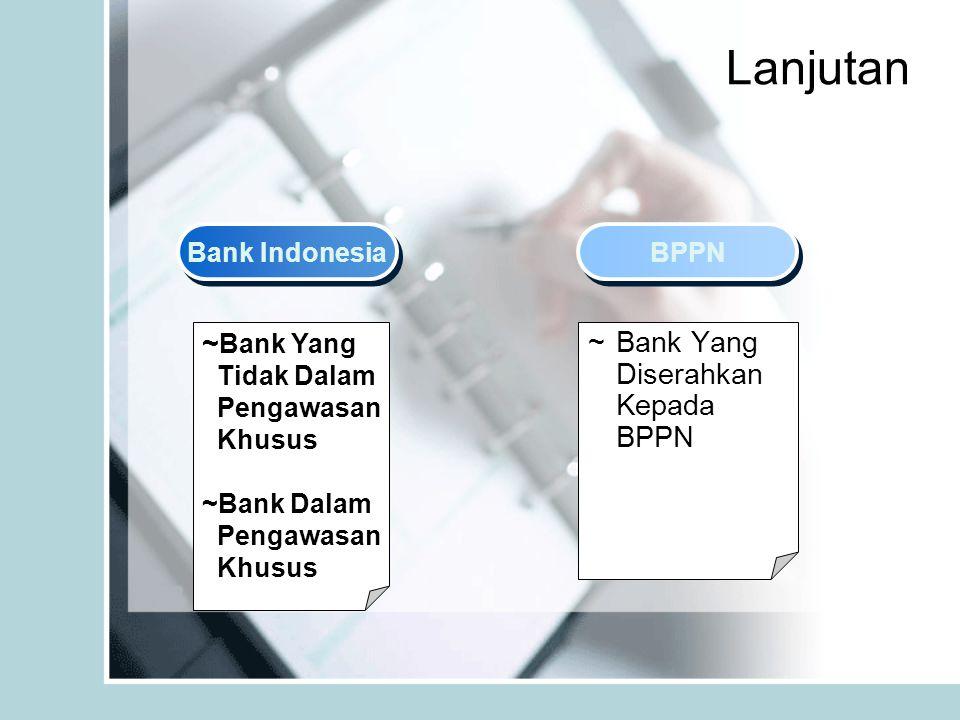 Lanjutan Bank Indonesia BPPN ~ Bank Yang Tidak Dalam Pengawasan Khusus ~Bank Dalam Pengawasan Khusus ~ Bank Yang Diserahkan Kepada BPPN