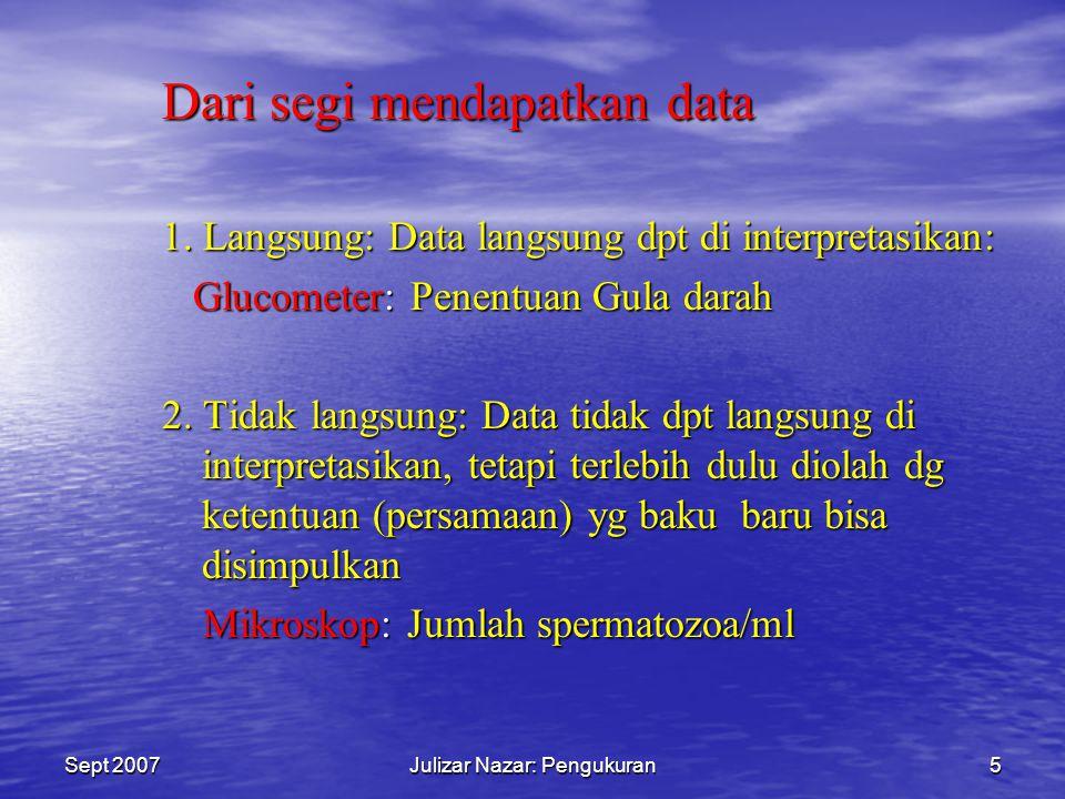 Sept 2007Julizar Nazar: Pengukuran4 Dari segi Kepraktisan Pemakaian 1.