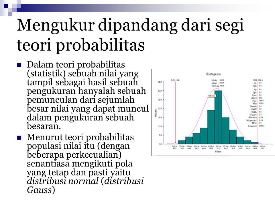 Mengukur dipandang dari segi teori probabilitas Dalam teori probabilitas (statistik) sebuah nilai yang tampil sebagai hasil sebuah pengukuran hanyalah