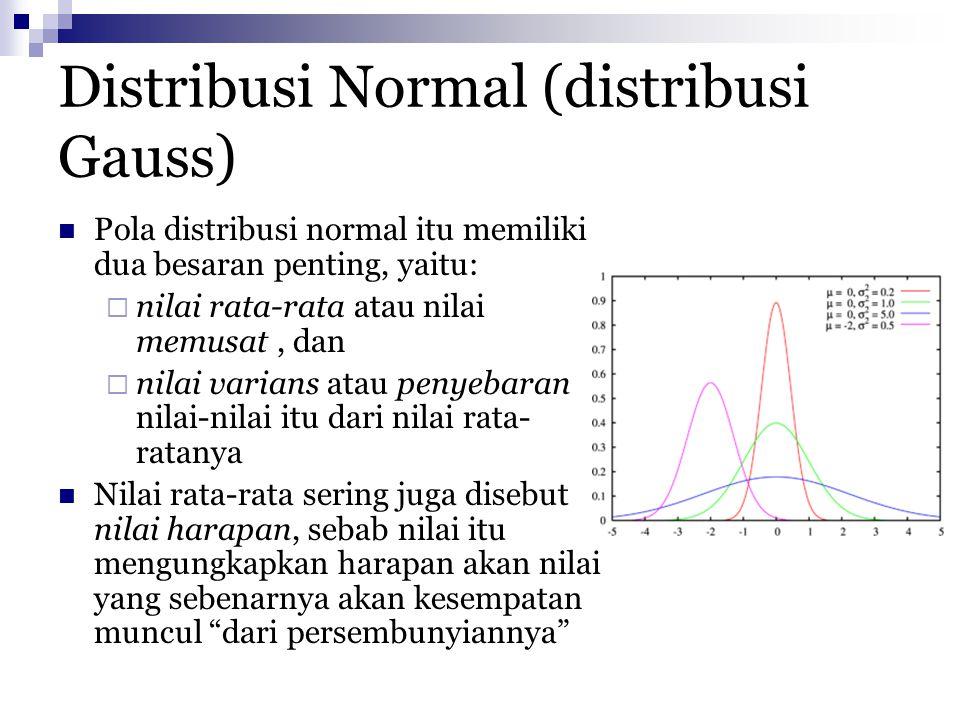 Distribusi Normal (distribusi Gauss) Pola distribusi normal itu memiliki dua besaran penting, yaitu:  nilai rata-rata atau nilai memusat, dan  nilai