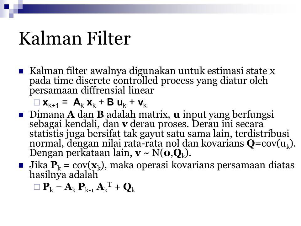 Kalman Filter Kalman filter awalnya digunakan untuk estimasi state x pada time discrete controlled process yang diatur oleh persamaan diffrensial line