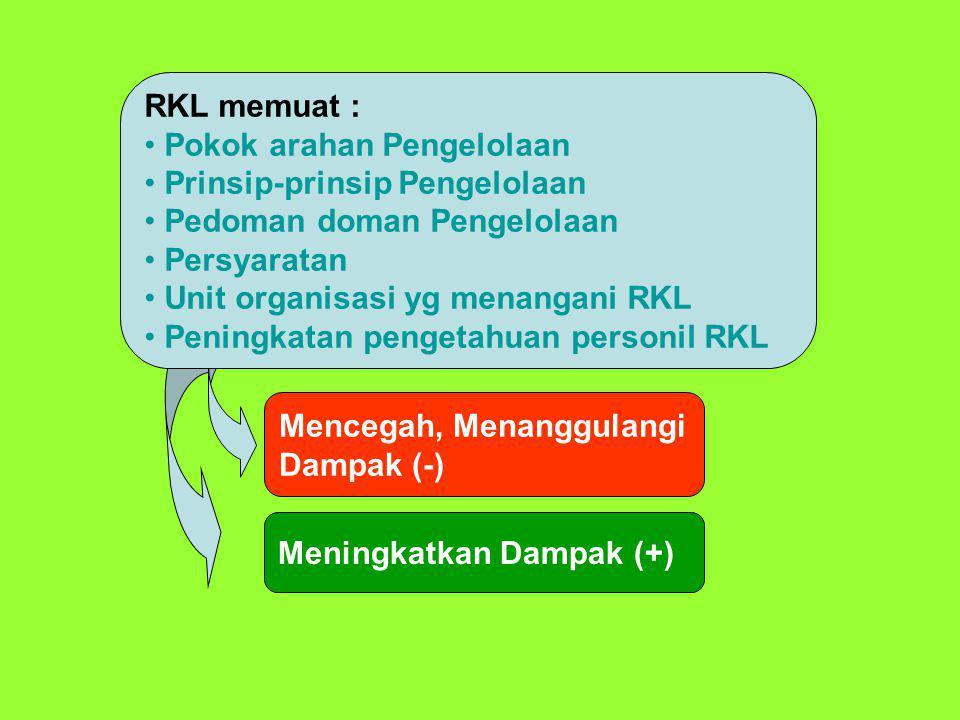 RKL memuat : Pokok arahan Pengelolaan Prinsip-prinsip Pengelolaan Pedoman doman Pengelolaan Persyaratan Unit organisasi yg menangani RKL Peningkatan p