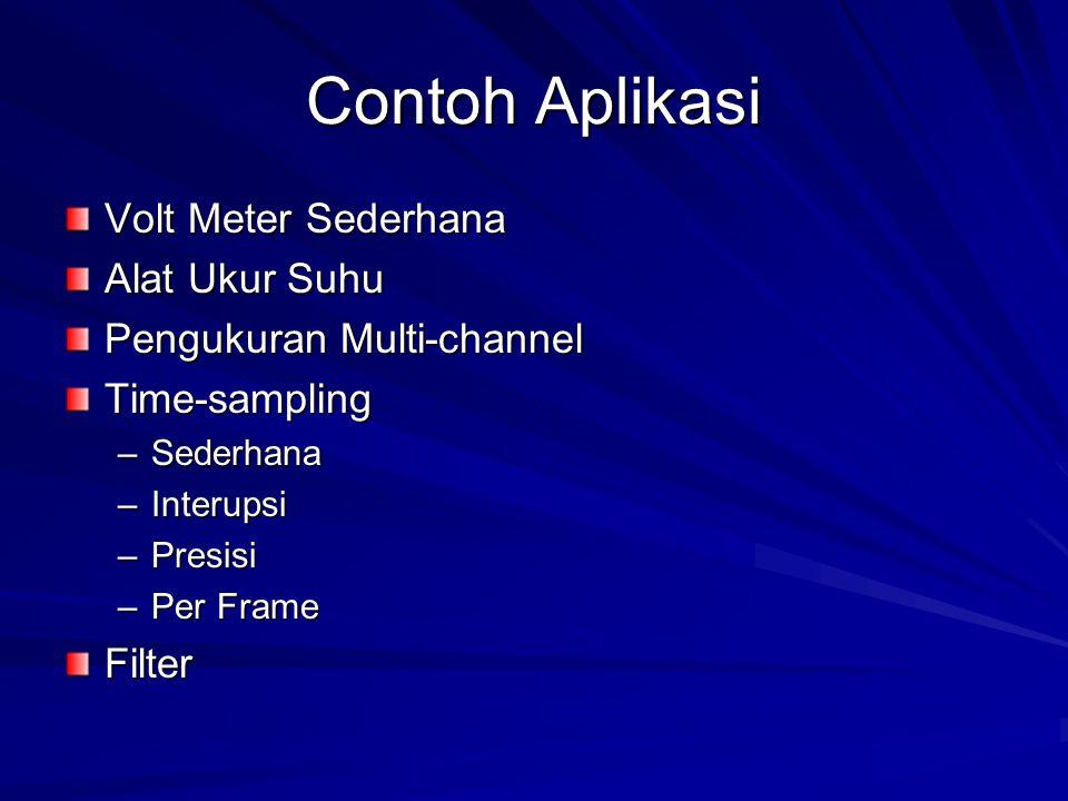 Contoh Aplikasi Volt Meter Sederhana Alat Ukur Suhu Pengukuran Multi-channel Time-sampling –Sederhana –Interupsi –Presisi –Per Frame Filter