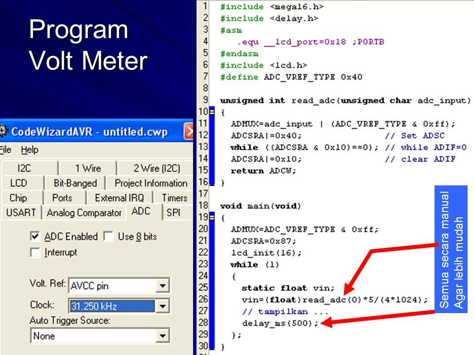 Program Volt Meter Semua secara manual Agar lebih mudah